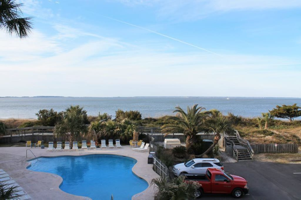 Beautiful Views of the Atlantic Ocean and Savannah River Entrance from your Private Balcony