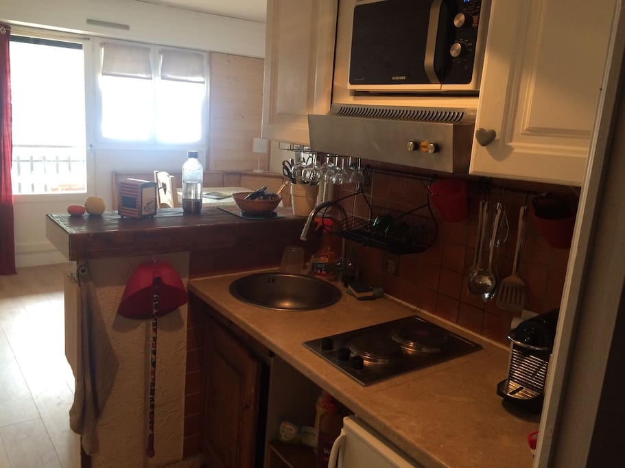 Cuisine donnant sur le salon, équipée d'une plaque chauffante, hotte, four micro-onde, réfrigérateur, soda-stream et Nespresso.