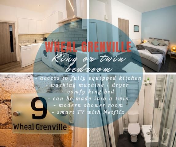 Trelu - Wheal Grenville - gorgeous ensuite bedroom with access to a stunning kitchen in a newly reno