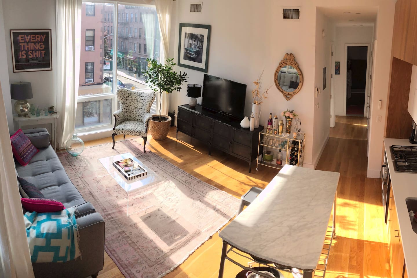sunny living room and kitchen