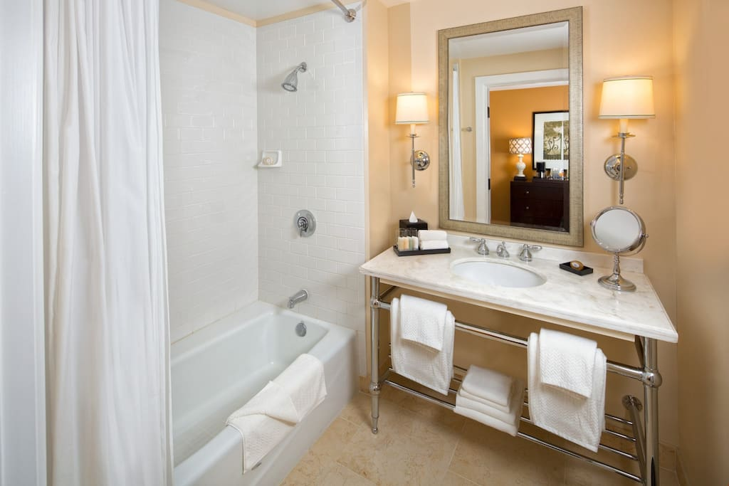 Get ready for the day in the bright and spacious bathroom.