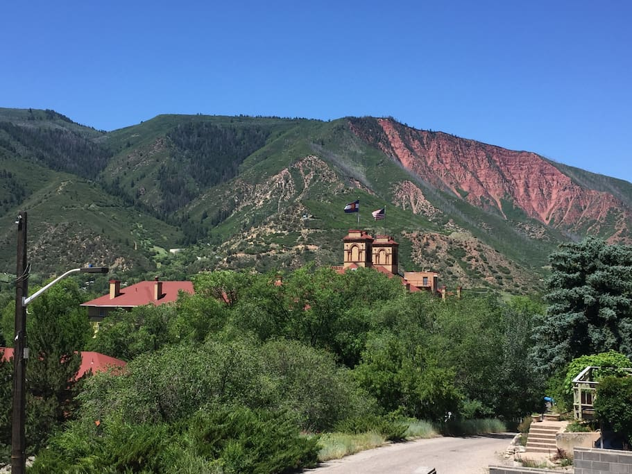 View from Balcony Overlooking Hotel Colorado and Red Mountain