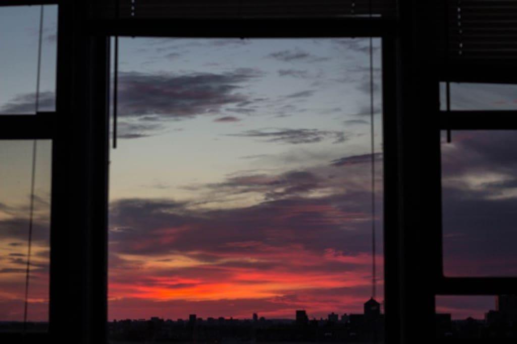 beautiful sunrise view from window