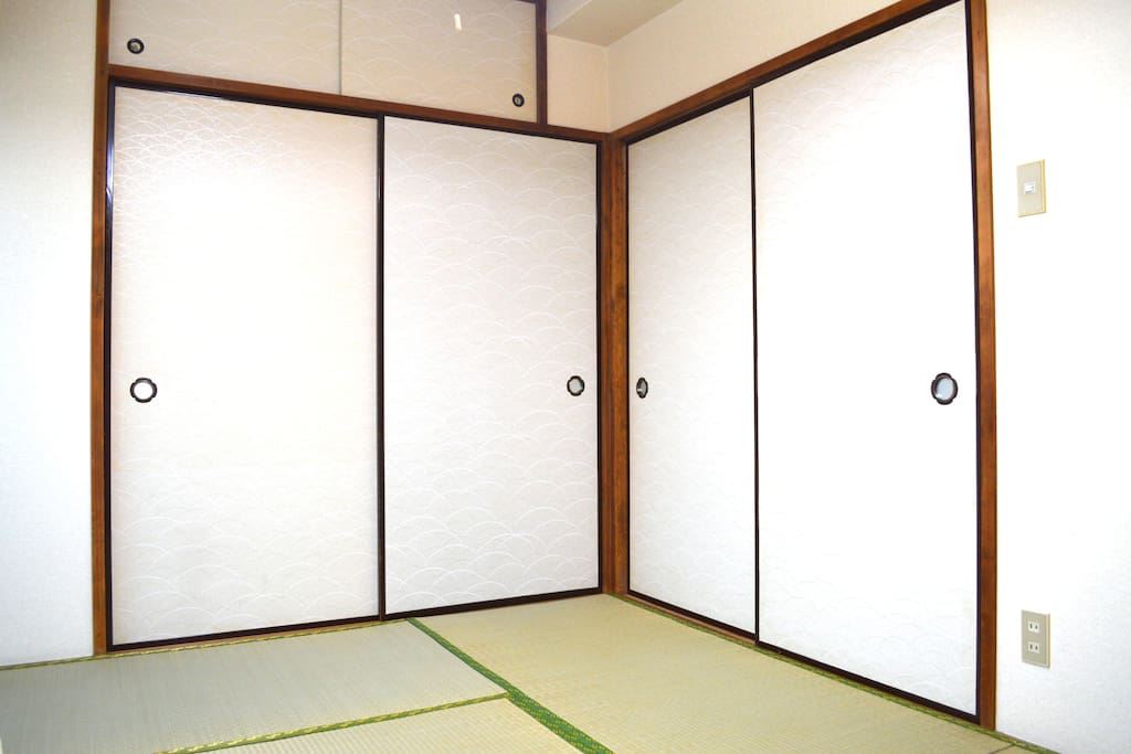 Bedroom 1. Tatami room with 3 futons. Great for kids.