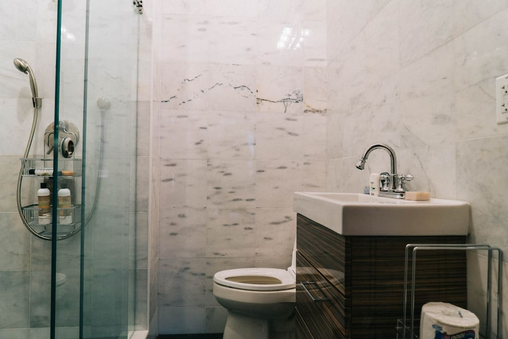 White marble bath with shower and modern amenity.