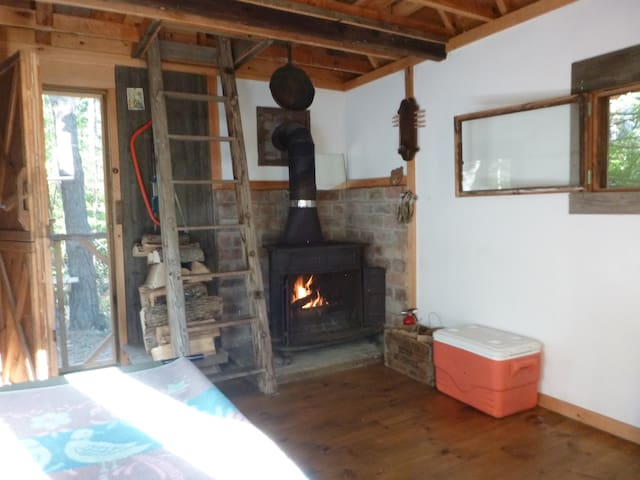 Inside Tiny Cabin with Woodstove