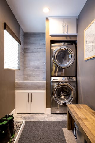 There is a washer and dryer on hand if needed. The laundry room also has a bench to take off your shoes and gear before heading into the house.