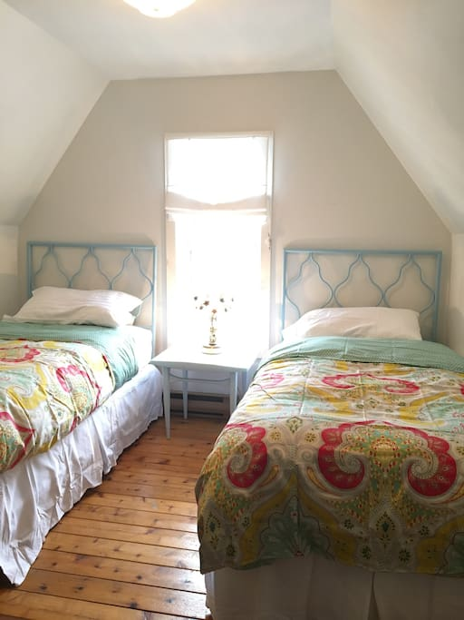 Very pretty, and comfortable, twin beds.