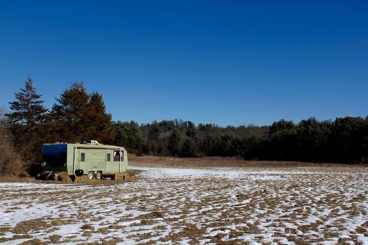 Caravan w/ hot tub on Horse Farm