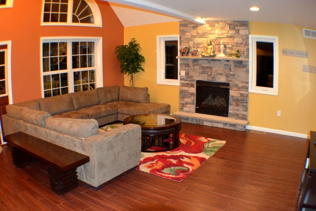 Welcome to Open Living room  with Gas Fire place,55 inch 4K TV