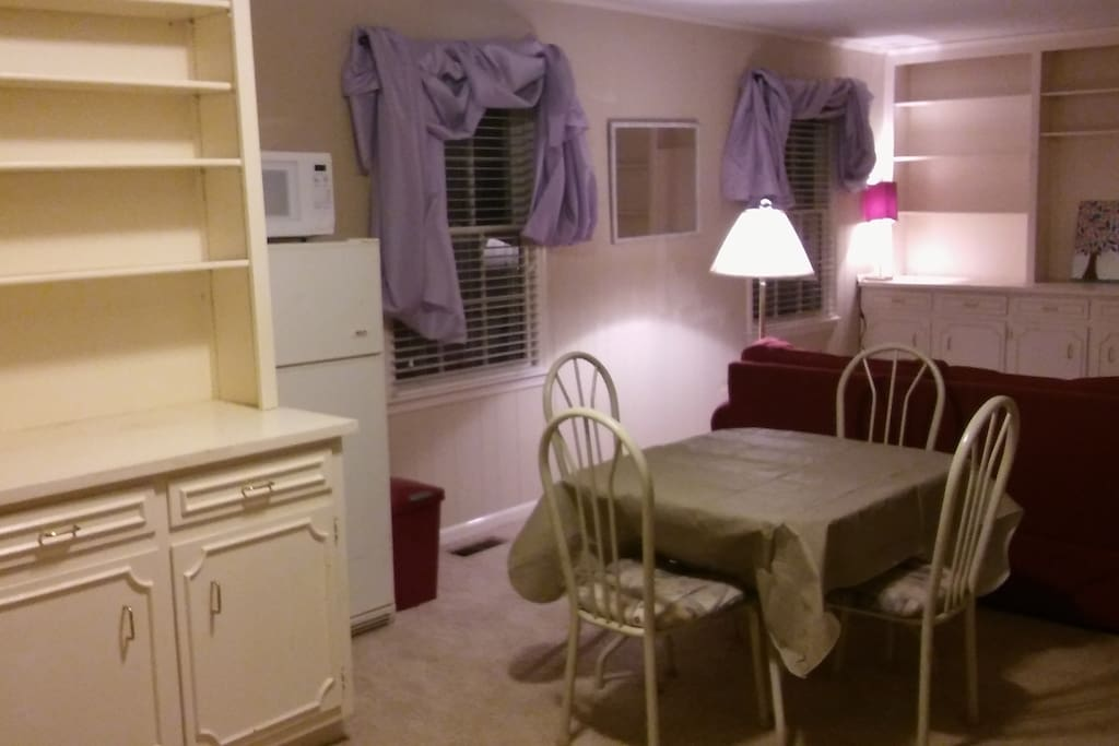 Refrig, Microwave, Dining, & Living Room area