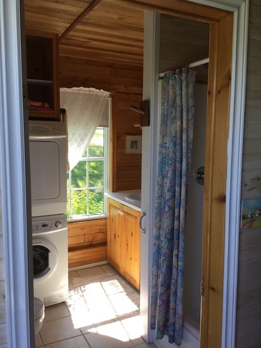 Bathroom with a full size shower. We also have a washer and dryer.