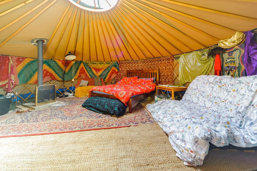 Like a Tardis, the yurt feels a lot bigger inside than it looks on the outside