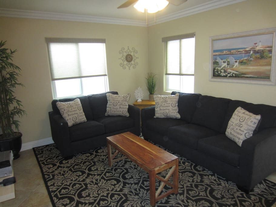 Living room with love seat and queen sofa sleeper