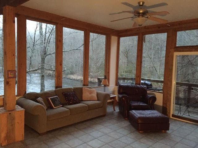 Nantahala River House located right ON the river.