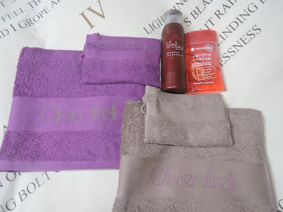 Towel, showercream and shampoo for the guests