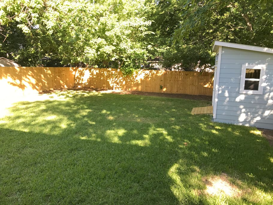 Here's the backyard with my beautiful shed.  Completely fenced in and super comfortable to hang out in.
