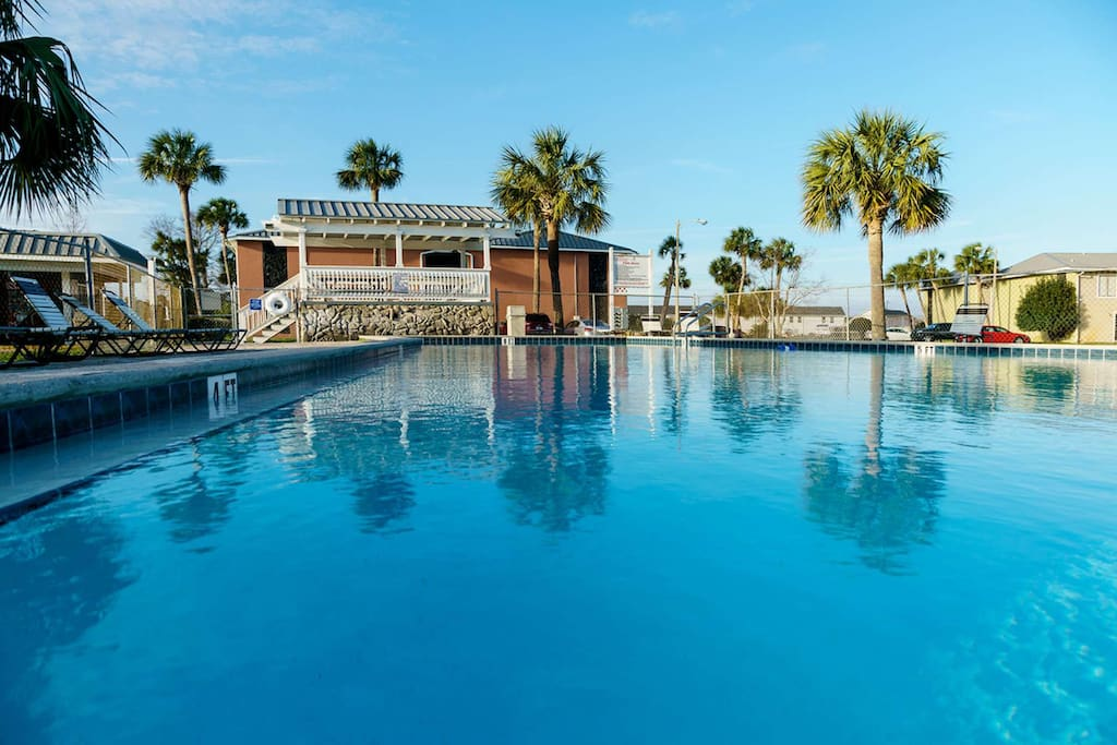 Enjoy one of three onsite pools with plenty of seating