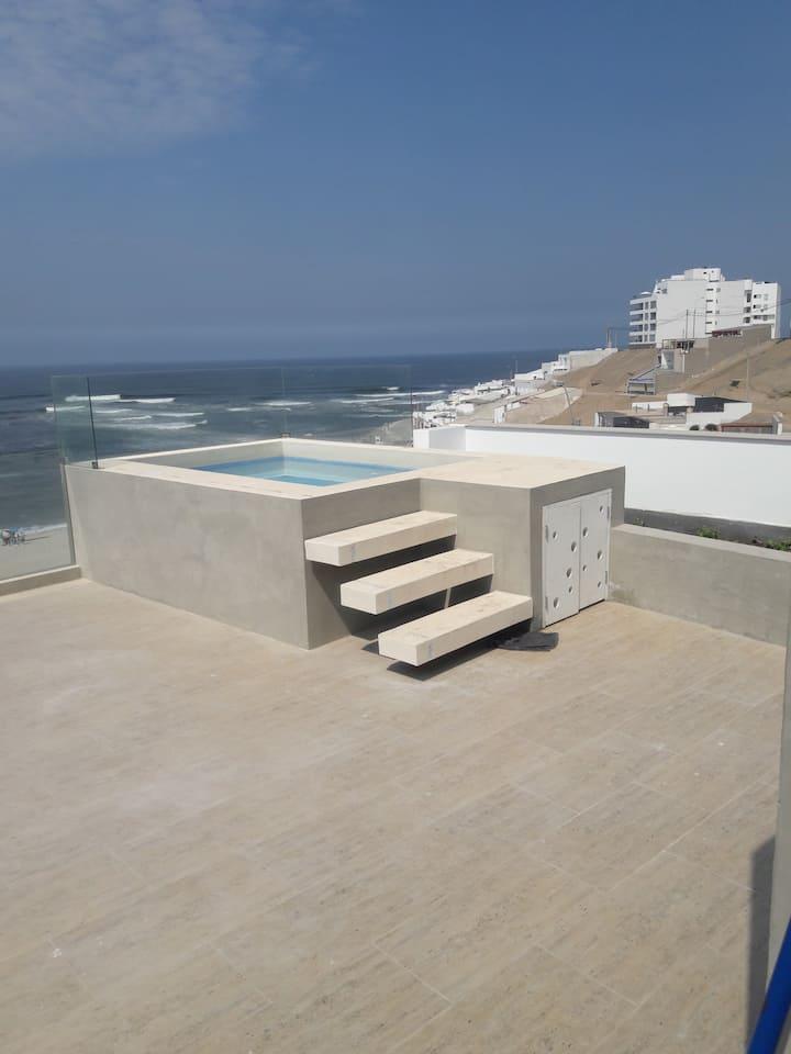 Dpto piscina frente a la playa Caballeros