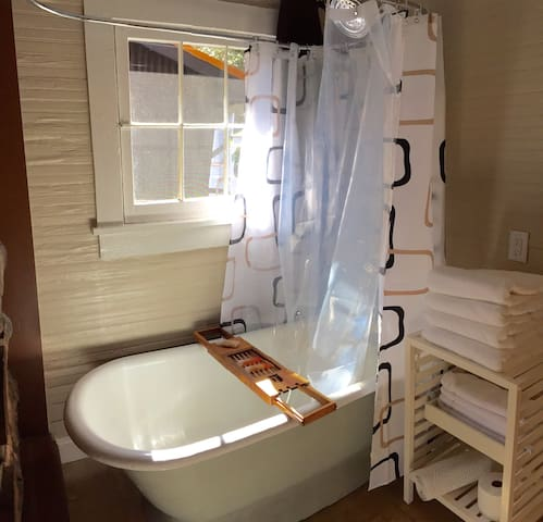 Claw foot tub and shower!