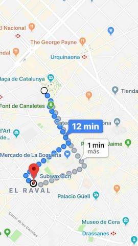 Estamos de plaza Catalunya a 10 minutos andando