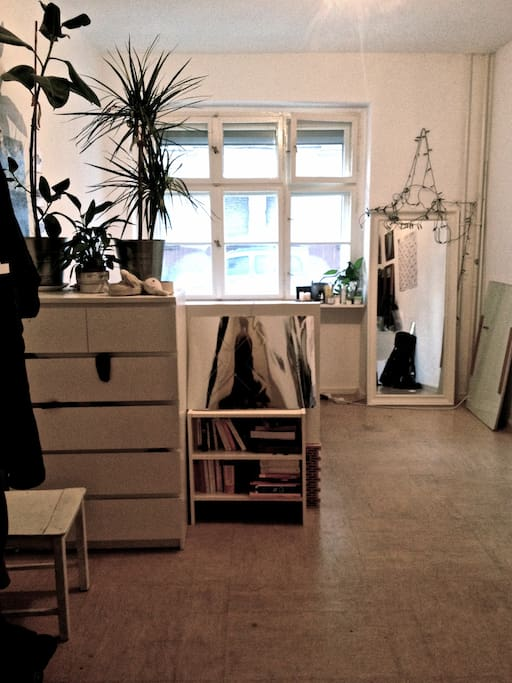 View from the door: chest of drawers and  book shelf hide the high bed