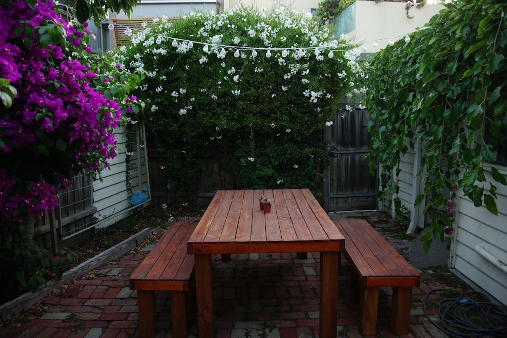 Our outdoor area - perfect for you to enjoy your morning coffee and treats from the market