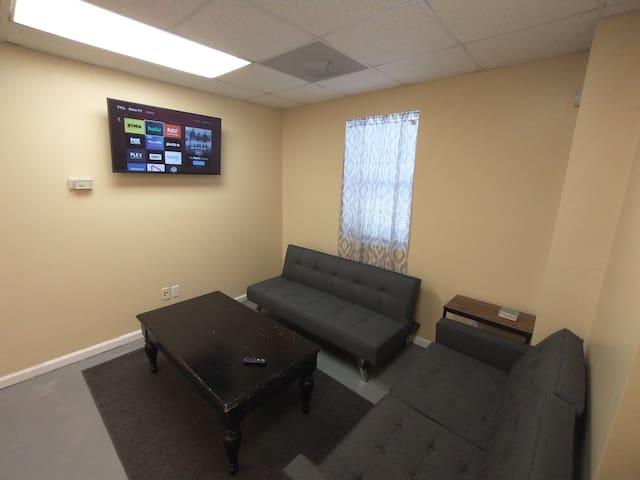 Living area, Roku Tv, Futon and love seat