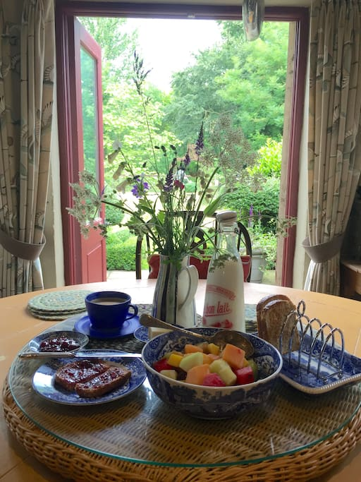 Lovely breakfast looking out over kitchen garden