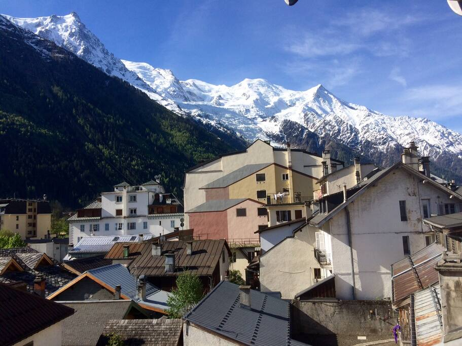 Panoramic view over Mont blanc chain from kitchen and balcony