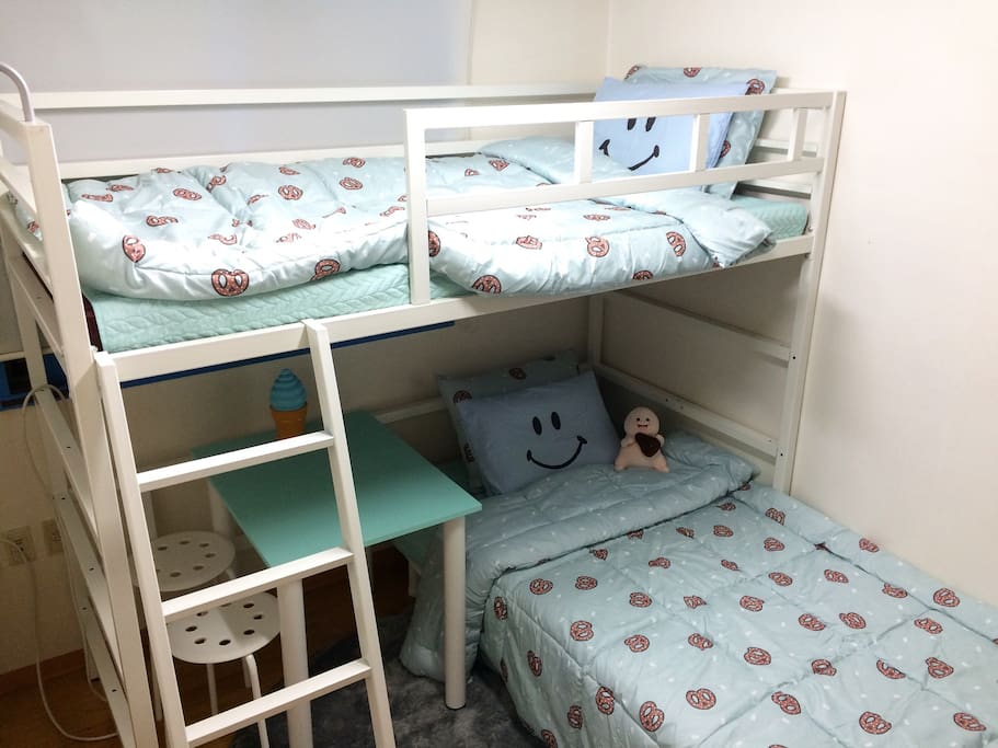 The room has one bunk bed :)