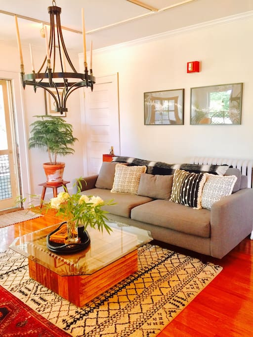 French doors in living room can be closed for extra guest.