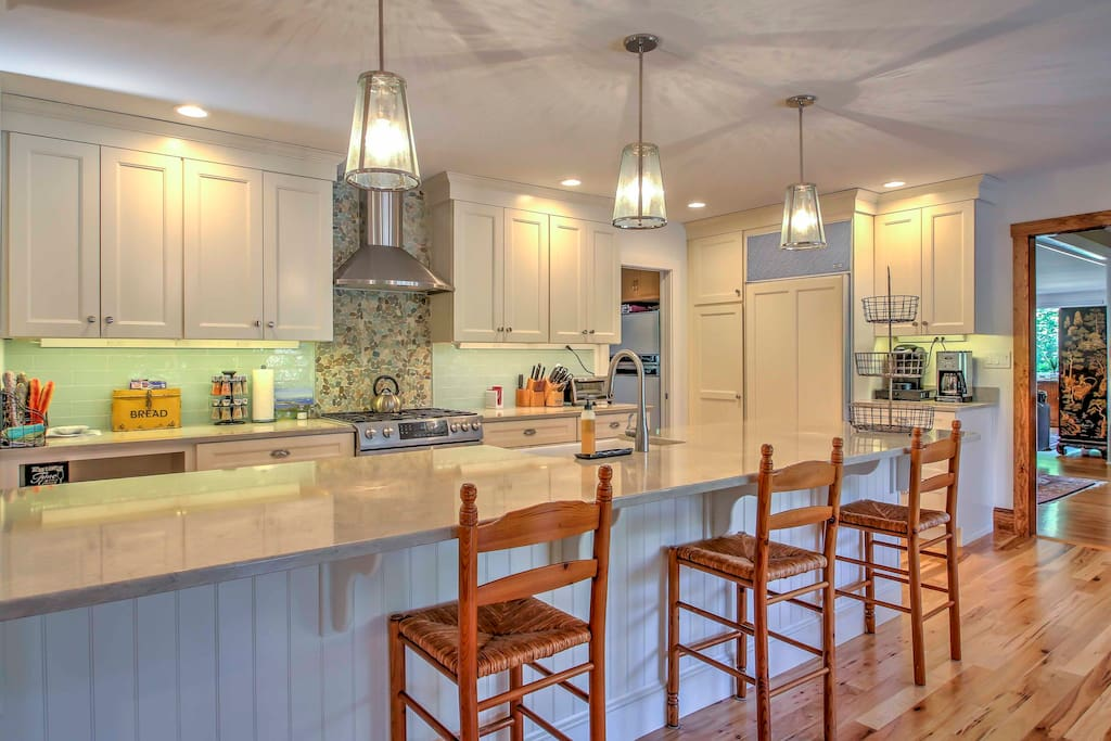 Any chef will marvel at the home's modern, sleek, fully equipped kitchen.