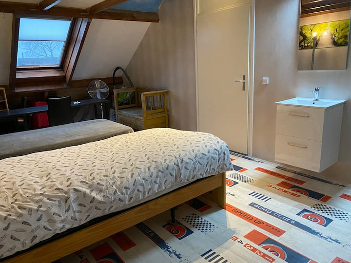 Cosy attic room with 2 single beds
