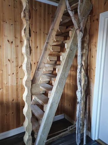 Ladder style stairs to loft bedroom, sadly not suitable for everyone