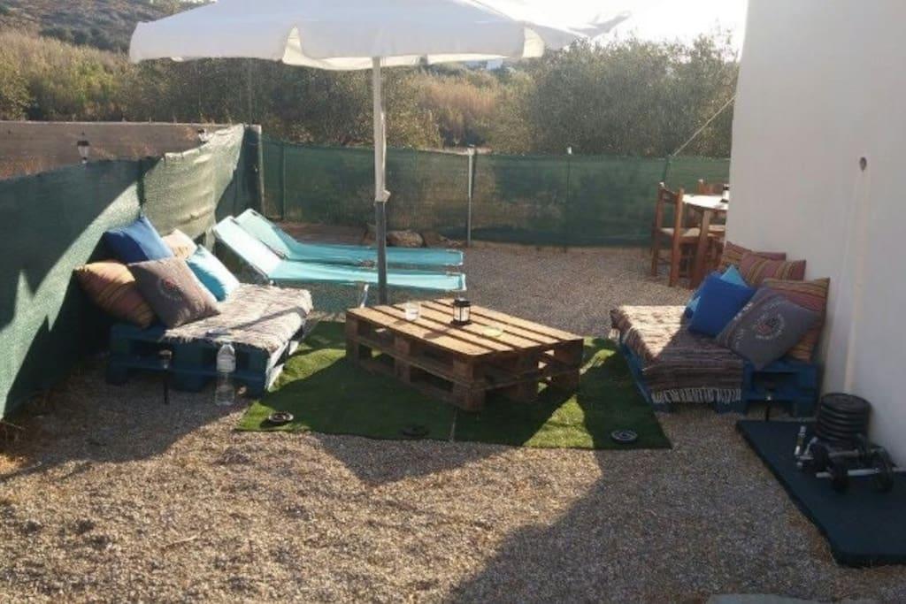Garden sun umbrella, loungers and shower