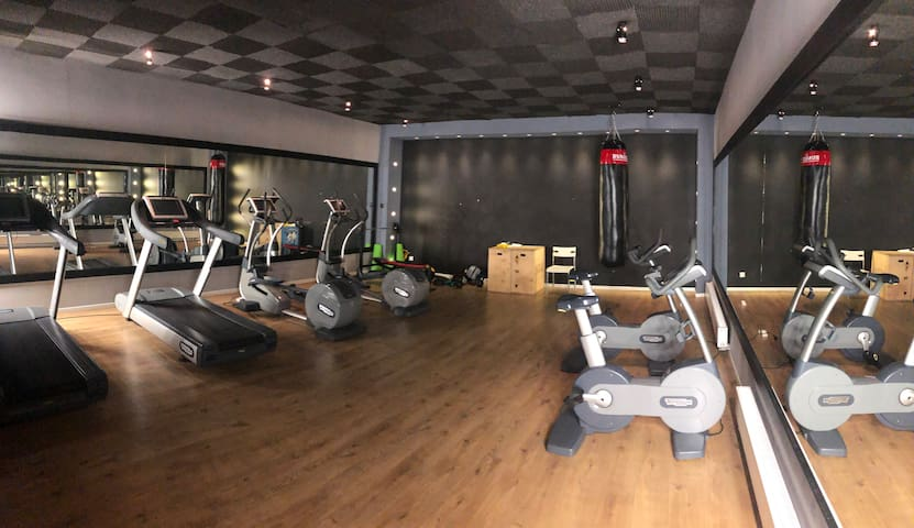 Fitness room including 2 stationary bicycles, 2 orbitreks, 2 treadmills, MMA punching bag, medicine balls, benchpress, dumbbels, skipping rope, and other accessories.