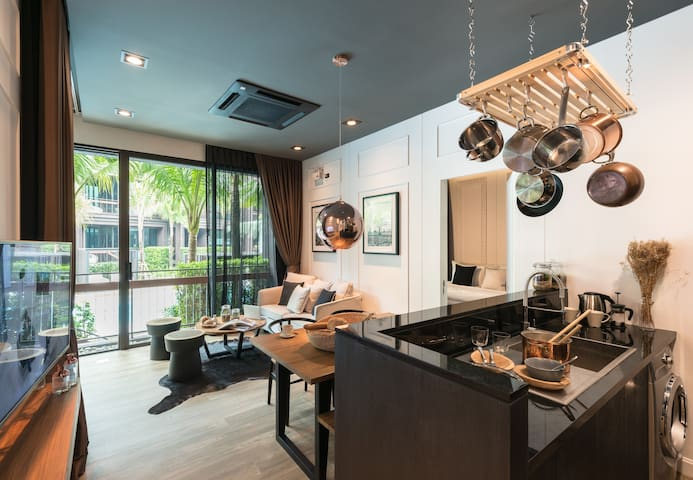 The kitchen and living room