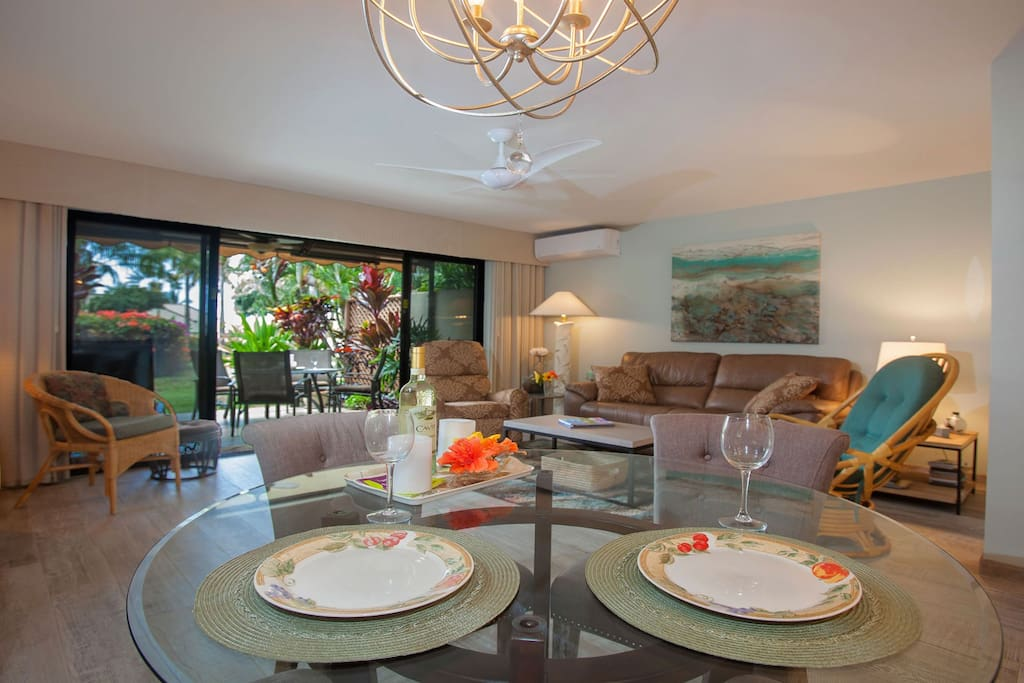 View of Dining Room and Living Room with Lanai  in background
