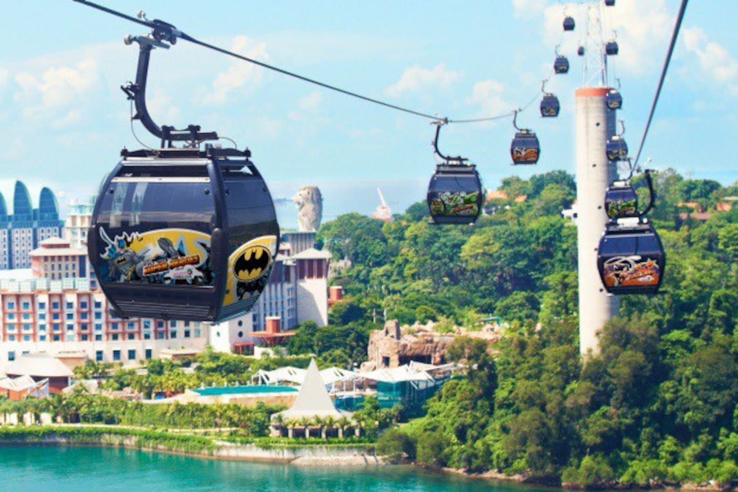 A photo of the cable car that goes to Sentosa.