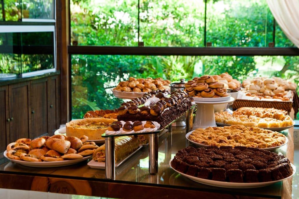 Nosso café da manhã exclusivo para hóspedes