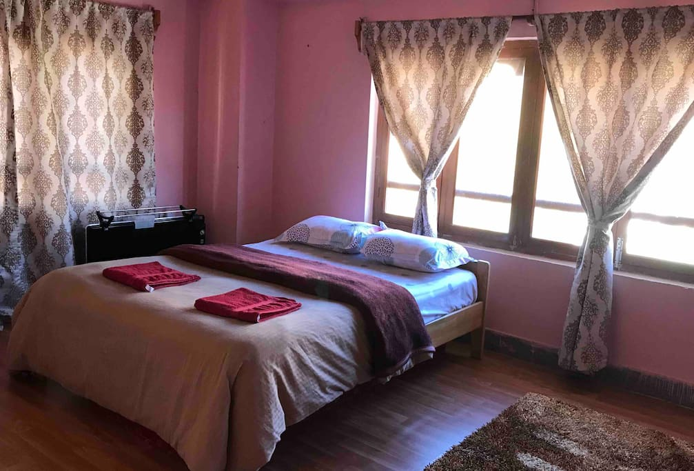 Double room with room heater