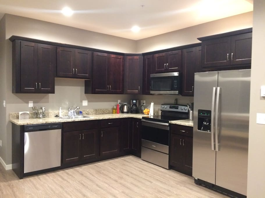Fully functioning kitchen with brand-new appliances.