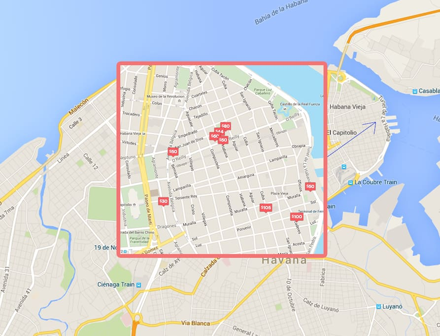 Approximate location of Apartments in Old Havana