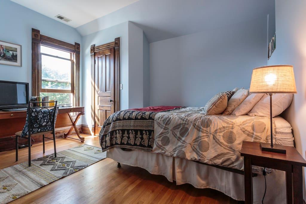 Your cozy sunlit room facing west with lockable door (and original door key!)