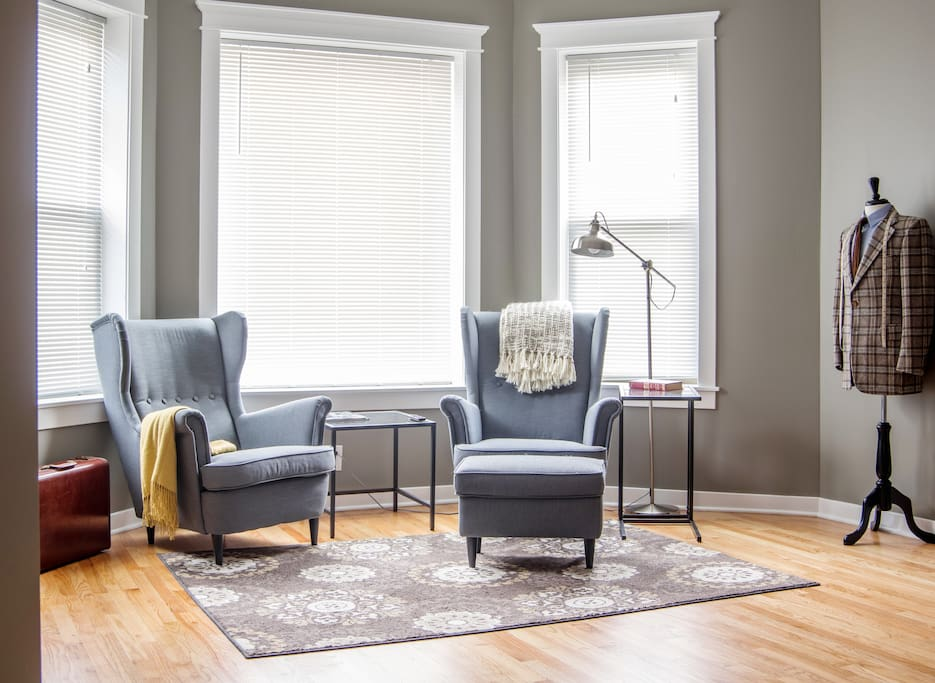 Living room is perfect for hanging out before and after exploring the city.