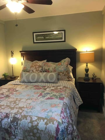 """Cozy downstairs bedroom with Pottery Barn Furniture and Bedding and a Westin """"Heavenly Bed"""" mattress! Oh, so comfortable!"""
