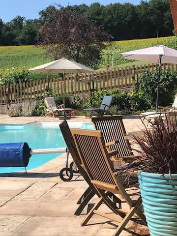 View from Pergola towards the heated pool