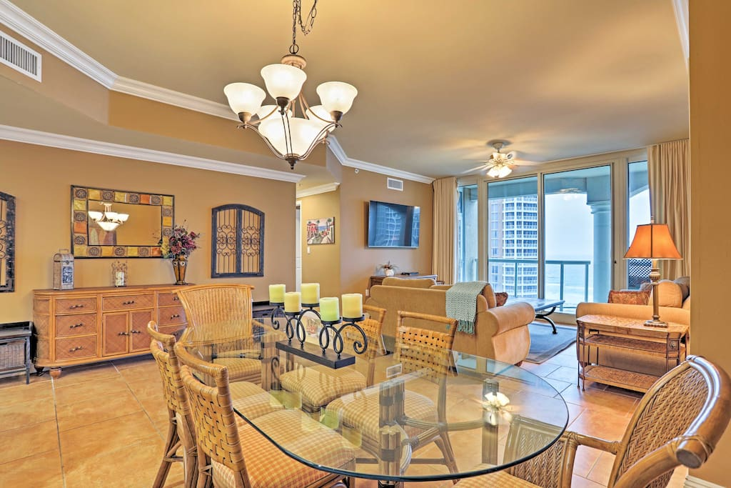 The elegant unit offers wide ocean views from the private patio.