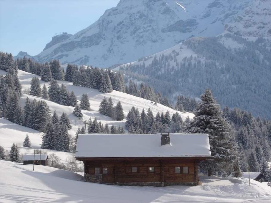 Side view of chalet taken from the La Rasse ski piste